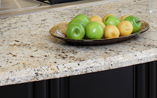 Kitchen Countertop with Apple in a Tray